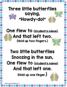 {Spring} Butterfly and Caterpillar Poems, Songs and Finger