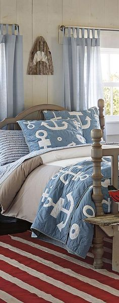 Cool nautical theme for a boy's room at the beach house! Nautical Bedroom, Coastal Bedrooms, Nautical Home, Coastal Homes, Coastal Decor, Coastal Living, Coastal Rugs, Coastal Furniture, Bedroom Furniture