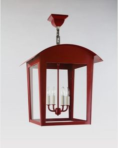Raise the Red Lantern: Paul in Mandarin Red powdercoat, made in Brooklyn by Remains Lighting.