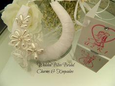 Wedding Horseshoe Bridal Charm - Beaded Lace Motif & Tulle