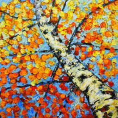 Original Modern Aspen Yellow Orange Fall Landscape Impasto Textured Aspen Tree Painting Acrylic- by Kathleen Fenton