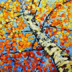 Original Modern White Birch Aspen Yellow Orange Fall Landscape Impasto Textured Aspen Tree Painting Acrylic- by Kathleen Fenton. $425.00, via Etsy.