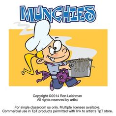 Let's face it, we all love food and some more than others.  Munchies includes 18 unique cartoon images of kids munching on their favorite and not so favorite foods from cookies to zucchini.