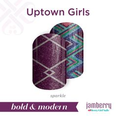 Create a look that's simply unstoppable with the sparkling 'Uptown Girls'. #UptownGirlsJN #purple #silver #blue #green #pink #mixedmani #sparkle #glitter #nailwraps #spring #boldandmodern #jamberry #berrygirlnails