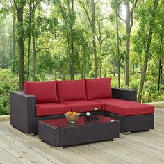 Convene 3 Piece Outdoor Patio Sofa Set Espresso Red -- Visit the image link more details. (This is an affiliate link) Outdoor Couch, Outdoor Living, Outdoor Decor, Outdoor Garden Furniture, Home Decor Furniture, Rattan Corner Sofa, Outdoor Settings, Sofa Set, Patio