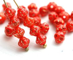 6mm Fancy Red Orange Bicone Beads, Golden Inlays, Czech Glass (30)