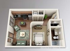We feature 50 studio apartment plans in perspective. For those looking for small space apartment plans, your search ends here. Apartment Layout, One Bedroom Apartment, Apartment Design, Studio Apartment Floor Plans, Apartment Plans, Layouts Casa, House Layouts, Small House Plans, House Floor Plans