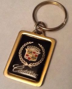 Vintage Cadillac Key Ring Goldtone Metal Rectangle Schoeffler Lafayette LA in Cadillac | eBay Sold $12.89