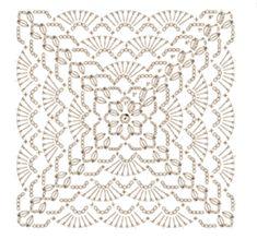 Crochet Mandala Pattern, Crochet Square Patterns, Crochet Blocks, Crochet Diagram, Filet Crochet, Crochet Stitches, Crochet Cushions, Crochet Tablecloth, Crochet Doilies