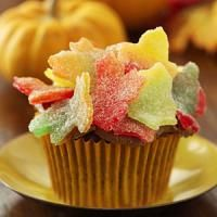 Autumn leave cupcakes, using a cookie cutter.