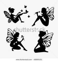 Find Cute Fairies Silhouette Collection Little Fairies stock images in HD and millions of other royalty-free stock photos, illustrations and vectors in the Shutterstock collection. Thousands of new, high-quality pictures added every day. Fairy Lights In A Jar, Fairy Jars, Fairy Silhouette, Silhouette Painting, Silhouette Images, Graphics Fairy, Fairy Templates, Fairy Paintings, Black Fairy
