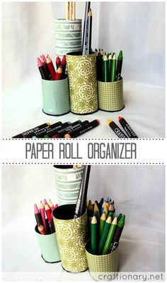 Recycle Crafts - Paper Roll Pencil Organizer- Kids Craft Idea (Tutorial)