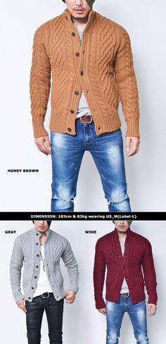 Thick Chunky Wool Sweater Jacket-Cardigan 139 - GUYLOOK