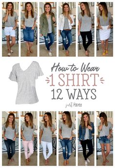 How to wear and style 1 gray shirt 12 different ways! This simple ruffle sleeve gray tee from Target is less than $17, super soft, and a perfect piece for spring and summer! It is a great shirt for a casual look or to dress up for work. This is a perfect item for a capsule wardrobe and it can be worn so many ways....