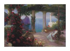 Reading on the Terrace - Capri by Karl Maria Schuster