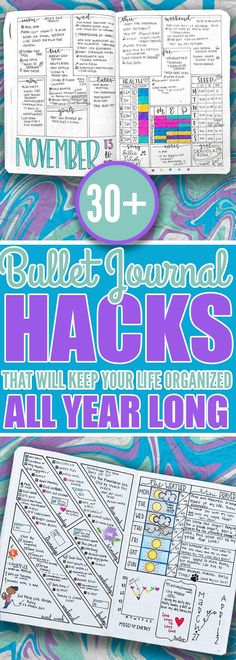 If you want to keep your life organized all year long, then you should really check out these tips and ideas for your bullet journal. I've found the best list of weekly logs, budget trackers, and more bullet journal ideas to keep my life organized all yea Diy Bullet Journal, Bullet Journal Banners, Bullet Journal Calendrier, Bullet Journal Layout, Bujo Inspiration, Journal Inspiration, Journal Ideas, Journal Prompts, Journal Pages