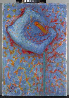 Piet Mondriaan [1872-1944] Aäronskelk; Blauwe bloem 1908-1909 hoogte 46 cm breedte 32 cm olieverf op doek Gemeentemuseum Den Haag