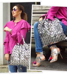 Perfect Match!  Blusa pink de chamois com babados @criscapoani  bag e sandália metalizadas no look da minha Fhits influencer gaúcha @claudiabartelle. Love it!  #FhitsLondon #FhitsTeam #FhitsTips