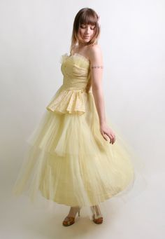 1950s Prom Dress in Sunshine Yellow - Strapless Tulle Evening Formal Gown - Medium Homecoming Queen. $210.00, via Etsy.