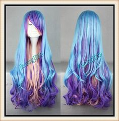 Long Color Wig Curly Multicolor Wig Ombre Wig Lolita by Jennylife, $15.99