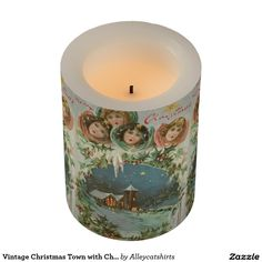 Vintage Christmas Town with Children Flameless Candle