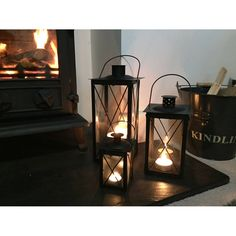 Set Of Three Cavendish Candle Lanterns In Black