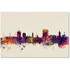 Trademark Fine Art Cardiff Wales Skyline Canvas Art by Michael Tompsett, Size: 12 x 19, Purple