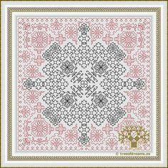 Azulejos Series - Mandala E - Tree of Dreams | Custom cross stitch, Blackwork, Hardanger patterns and more