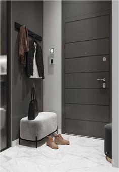 Какая бы, она не была: узкая или широкая, маленькая или большая, задача дизайнера превратить это в стильное и комфортное пространство и не забываем, что это-визитная карточка вашего дома.    Чтобы избежать беспорядка и начать накапливать разные мелочи   стараемся минимизировать количество открытых мест хранения и полочек, по возможности делаем закрытые шкафы с распашными дверями. Home Hall Design, Foyer Design, Entrance Design, House Design, Hall Interior, Dream House Interior, Modern Apartment Decor, Apartment Interior Design, Bungalow Living Rooms