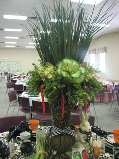 Table scape for Church Luncheon ...Carrot and Vegetable theme!
