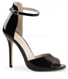 Black Patent Ankle Strap Amuse Sandal Pumps