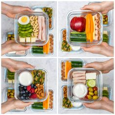 #MealPrep Bento Boxes 4 Different Ways Took a few minutes to assemble a few bento boxes today! Lunches-on-the-go Essential to staying out of the drive-thru during this BUSY time of year! {Pack a bunch to stay healthy on-the-go all week...
