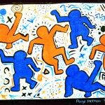 Keith Haring complimentary colors and patterns
