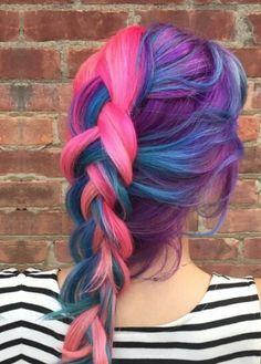 Purple blue pink braided dyed hair color @pinupjordan