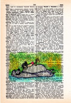 Repurposed Vintage Dictionary Art Featuring Watercolor from Disney's Jungle Book*Buy 2 get 3rd FREE by SimpleeSaid on Etsy