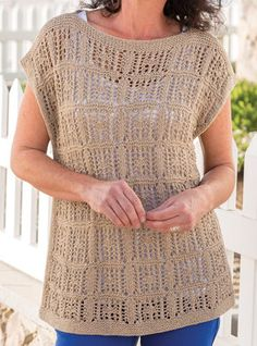 Knitting Pattern for Squared Away Tee - This top features lace repeats in a grid. Woman's S through 2X/3X