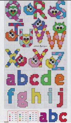 Alphabet perler bead pattern (Q-Z / a-j) Cross Stitch Alphabet Patterns, Cross Stitch Owl, Embroidery Alphabet, Cross Stitch Letters, Cross Stitch Charts, Cross Stitch Designs, Cross Stitching, Cross Stitch Embroidery, Stitch Patterns