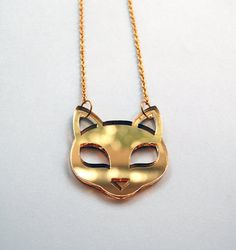 Small Cat Face Pendant Necklace - Laser-Cut Mirror Gold Acrylic Kitty - Gold Plated Chain on Etsy, $22.80 AUD