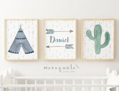 Nursey indian SET Tribal Baby Shower, Nursery art,Teepee,Arrow,Cactus,set kids,custom name,Indian Boy Room Boys Room,Personalized names,art.SET laminas infantiles estilo indio. Cactus, flechas y tienda india con nombre personalizado.Decoración infantil. Regalo dormitorio bebé by MARAQUELA
