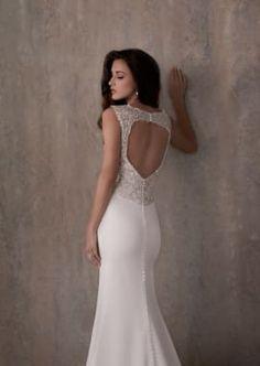 Beaded Crepe Sheath Wedding Dress with Keyhole Back