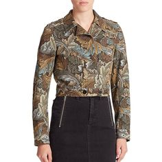 Marc by Marc Jacobs Mini Printed Military Jacket (1,440 PEN) ❤ liked on Polyvore featuring outerwear, jackets, apparel & accessories, elm brown multi, camo jackets, brown jacket, camoflauge jacket, military jacket and black cotton jacket