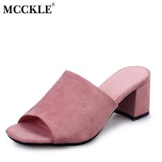 67effef82f3 MCCKLE Female 2017 Fashion Peep Toe Chunky Thick Heel Flock Mules Slippers  Women s Summer Casual Comfortable