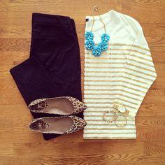 Gold Stripe Tee, Old Navy Pixie Pants, Leopard Flats | #workwear #officestyle #liketkit | www.liketk.it/1i93s | IG: @whitecoatwardrobe