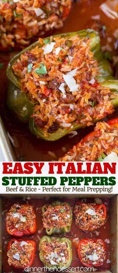 Stuffed Peppers – Dinner, then Dessert Stuffed Peppers with beef, rice, tomato sauce, onions and garlic with Italian Seasoning and Parmesan Cheese. Baked Stuffed Peppers, Italian Stuffed Peppers, Stuffed Peppers With Rice, Stuffed Peppers Healthy, Stuffed Pepper Recipes, Stuffed Bell Peppers Turkey, Stuffed Pepper Casserole, Ground Chicken Stuffed Peppers, Stuffed Bell Pepers