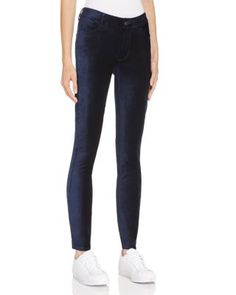 PAIGE Verdugo Ultra Skinny Velvet Jeans in Midnight Royal | Bloomingdale's