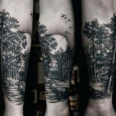 Some kind of a moon tattoo? A whale breaching in moonlight? Forest Tattoo Sleeve, Nature Tattoo Sleeve, Nature Tattoos, Forarm Tattoos, Body Art Tattoos, Leg Tattoo Men, Arm Band Tattoo, Moonlight Tattoo, Zen Tattoo