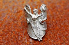 Art Nouveau, Ring, Sterling Silver, Fairy, Mythical, Boho, Gypsy Witch, Figural, Woman,Fantasy