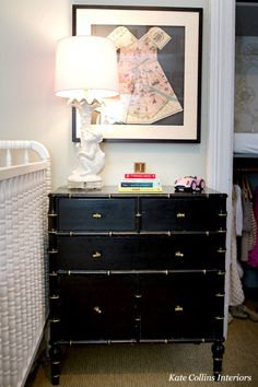 Black bamboo chest with gold accents