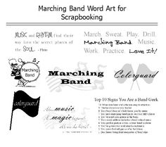 Scrapbook page titles and journaling ideas using free word art for Marching Band and Colorguard scrapbook pages.