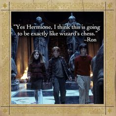 """""""Yes Hermione, I think this is going to be exactly like wizard's chess."""" #harrypotter #harrypotterquotes"""